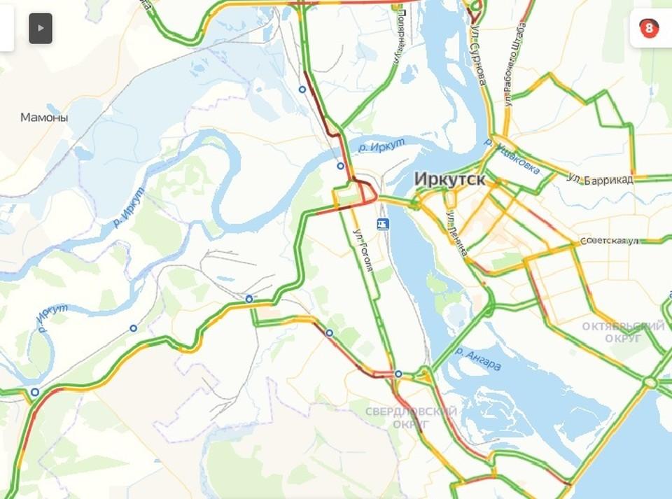 Пробки в Иркутске в 8 баллов образовались утром 7 апреля. Фото: яндекс.Пробки