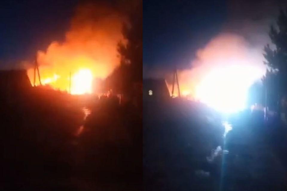 Еще один пожар случился в Новосибирской области вечером 20 апреля. Фото: Кадр из видео