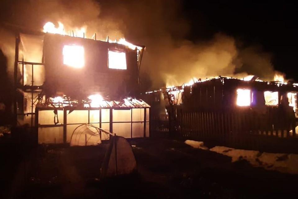 В поселке Юный Ленинец в Новосибирской области загорелись два дома. Фото: ГУ МЧС по НСО