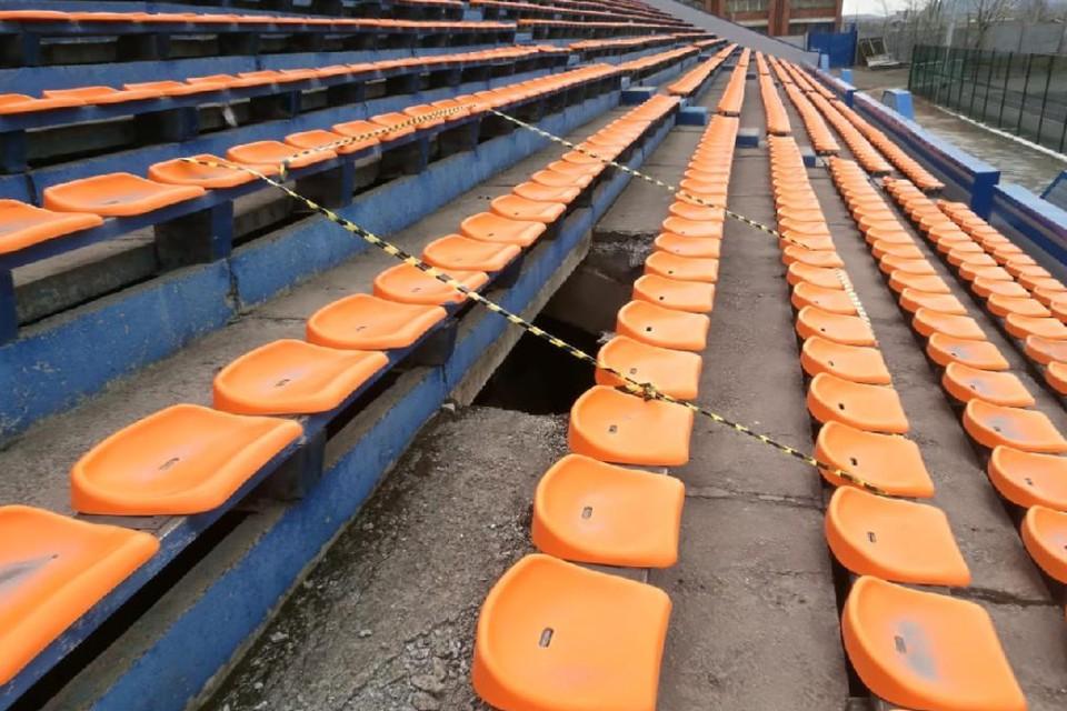 Трибуна стадиона обрушилась в Братске, пострадали трое студентов. Фото: прокуратура Иркутской области