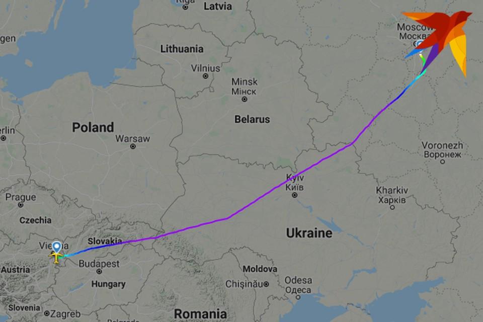 Airbus A319, выполняя 24 мая рейс из Вены в Москву, облетает Беларусь и следуют южнее – над Украиной.
