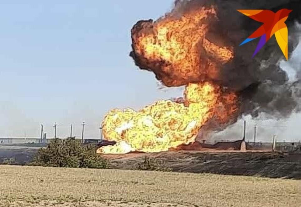Полыхающий газопровод в Новоузенском районе