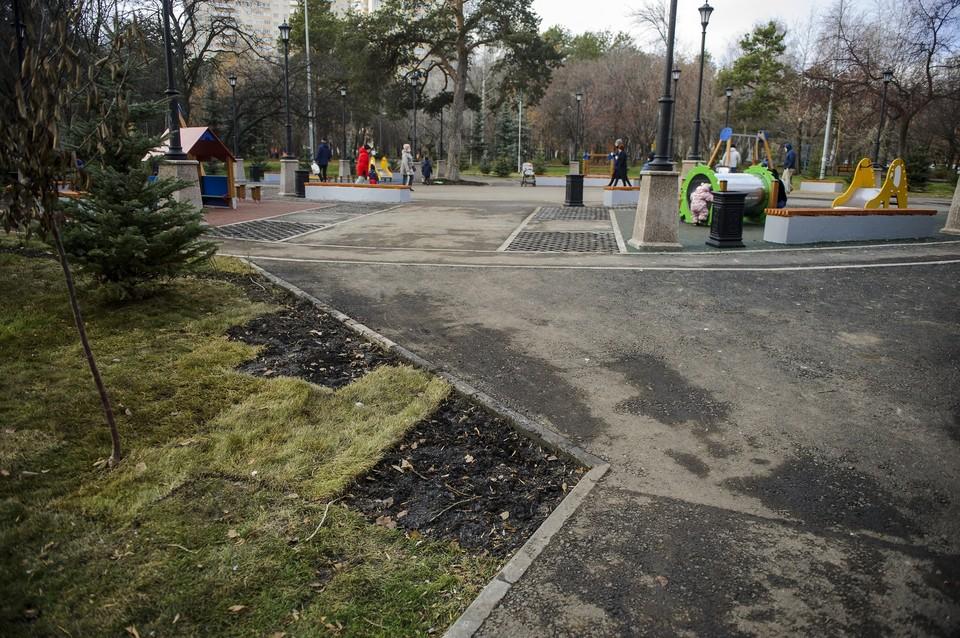В прошлом году горожане и строители обвинили друг друга в порче газона в парке «Зеленая роща»