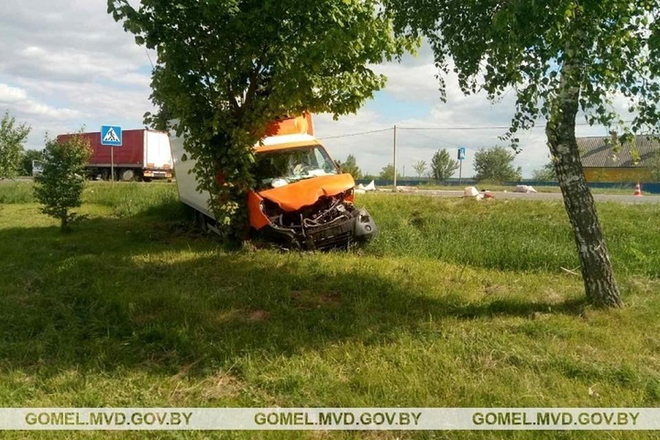 Авария в Рогачевском районе с машиной дорожников. Фото: УВД Гомельского облисполкома.