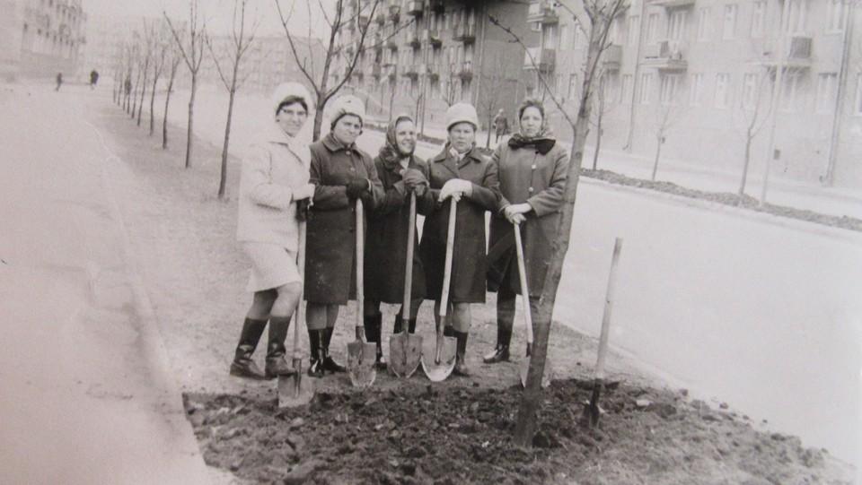 Елена Казакова (крайняя слева) с подругами на субботнике. 1970-е годы.