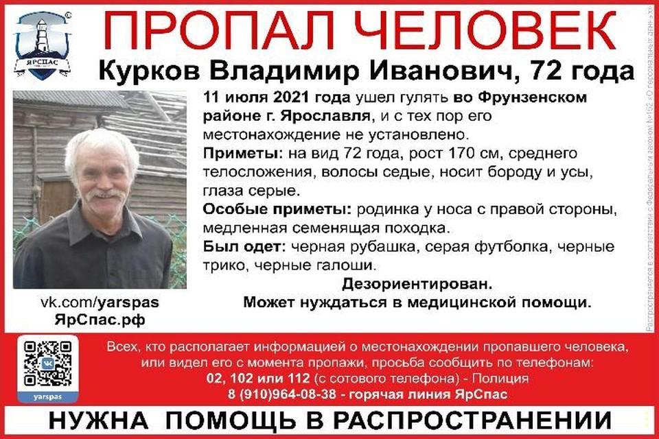 Владимир вышел на прогулку и до сих пор не вернулся.Фото: поисковый отряд ЯрСпас