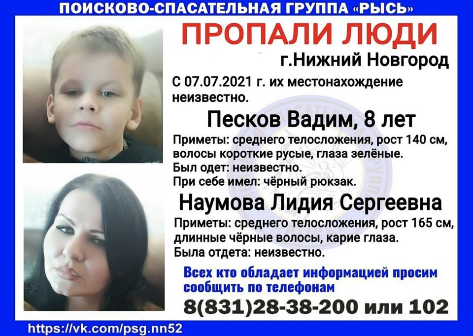 Женщина и 8-летний мальчик пропали в Нижнем Новгороде Фото:Поисково-спасательный центр РЫСЬ