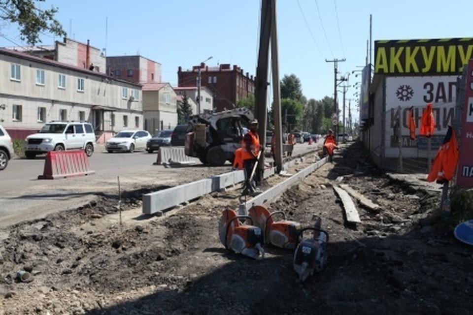 Ремонт улицы Баррикад продолжается в Иркутске