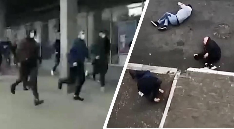Несколько десятков болельщиков из Москвы и Питера устроили жестокую драку в центре Твери. Фото: скрины с видео