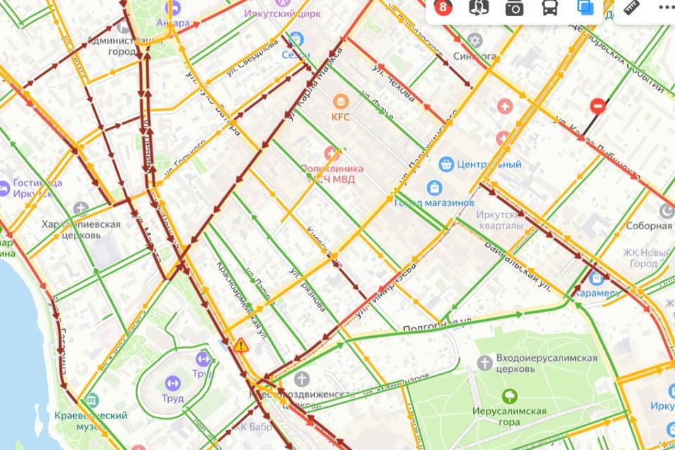 Пробки в 9 баллов сковали Иркутск вечером, 6 сентября. Фото: сервис «Яндекс.Пробки