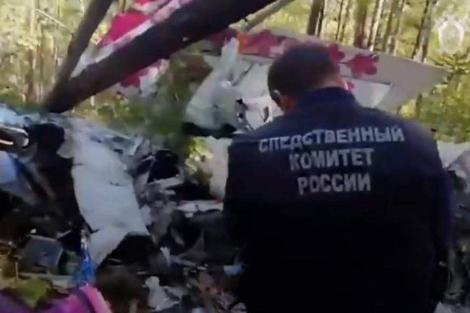 Следователи СКР осматривают место крушения самолета L-410 под Казачинским. Фото: СК РФ