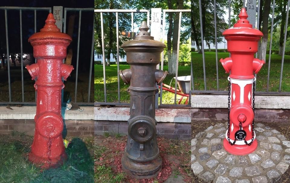Процесс очистки и покраски старинного гидранта на улице Емельянова