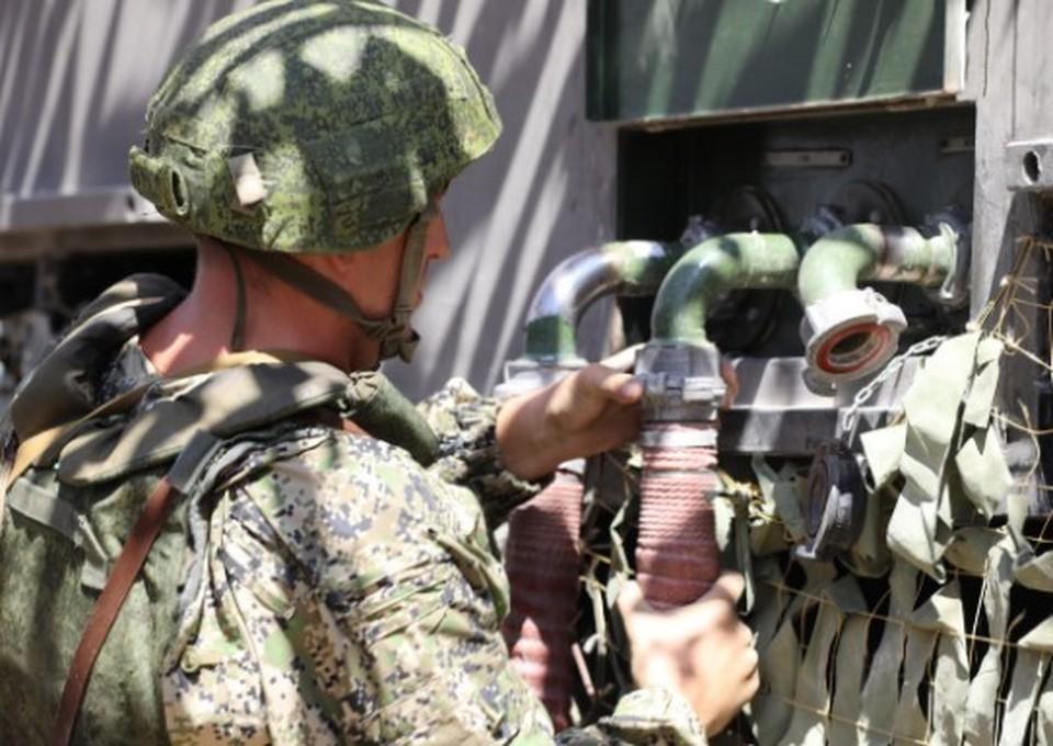 Было задействовано около 10 единиц военной и специальной техники. Фото: structure.mil.ru