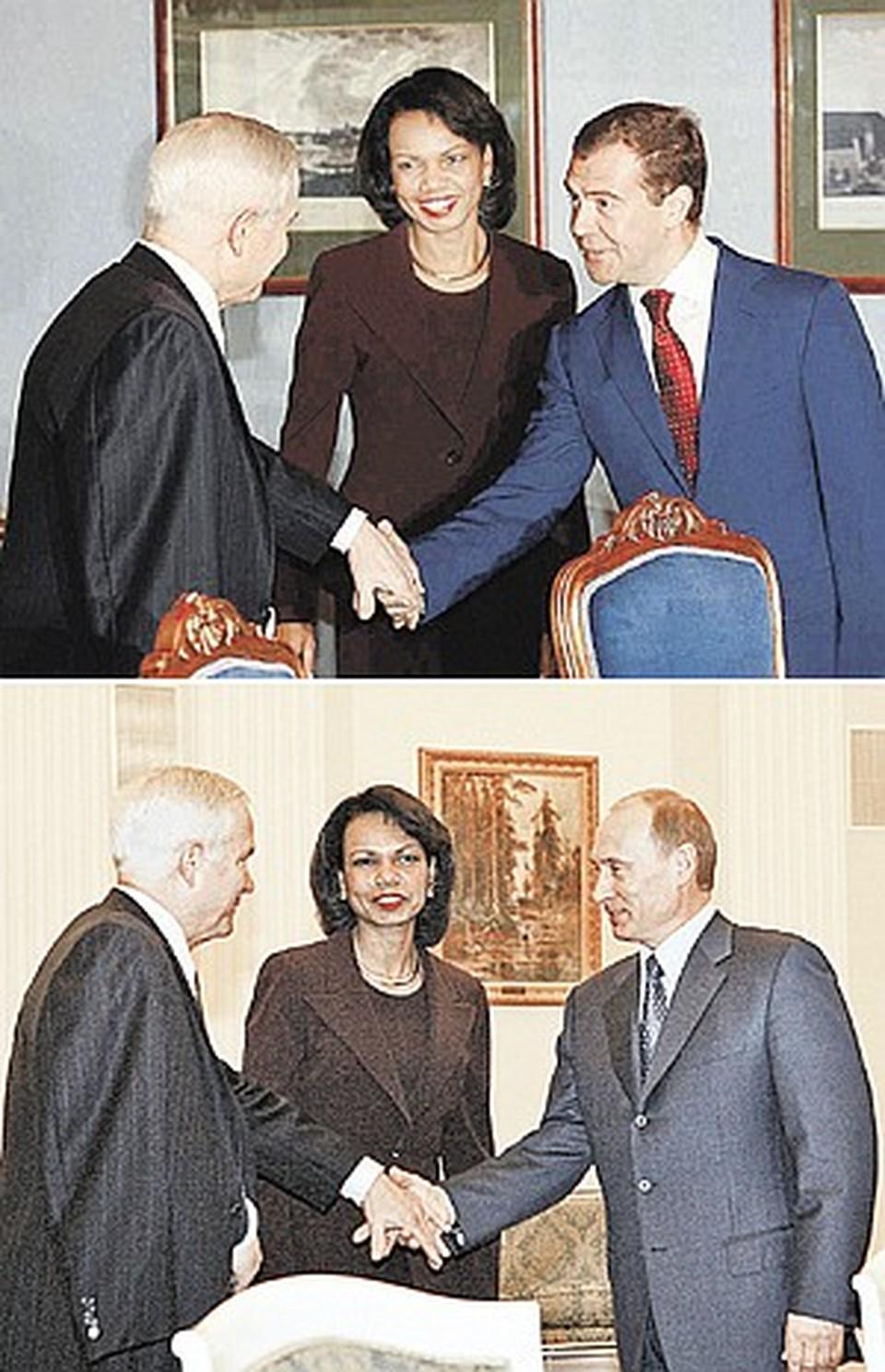 Сначала Кондолиза Райс и Роберт Гейтс встретились с Дмитрием Медведевым, а через пару часов - с Владимиром Путиным. И с новоизбранным Президентом России, и с действующим Гейтс здоровался левой рукой, так как правая была в гипсе.