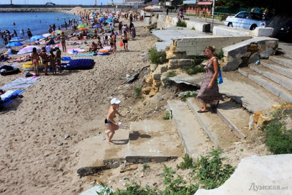 Пляж Черноморки до цунами.