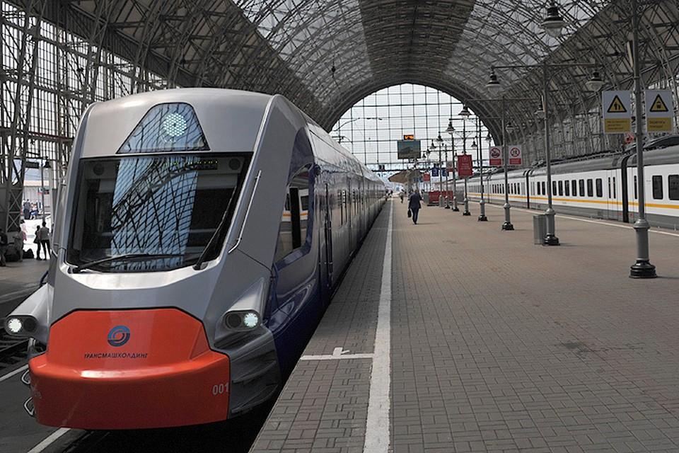Электропоезд ЭГ2Тв, предназначенный для запуска по МЦК на Киевском вокзале.