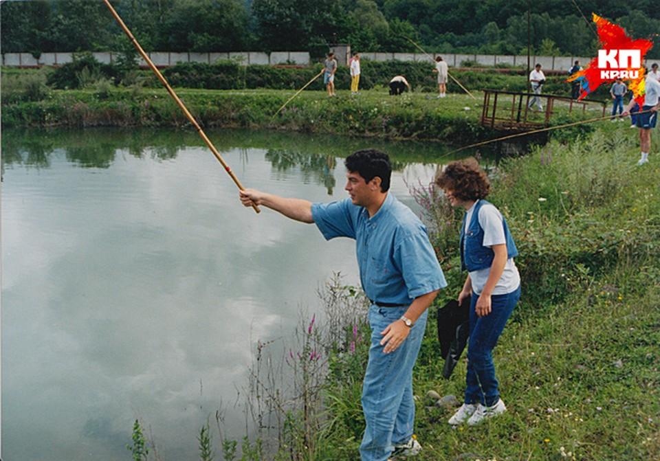 На рыбалке  с Жанной