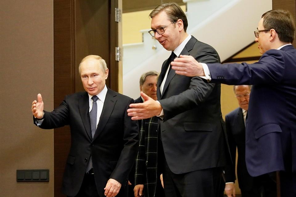 Президент РФ Владимир Путин и президент Сербии Александр Вучич провели переговоры в Сочи