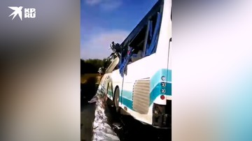 Видео с места ДТП с автобусом под Калининградом