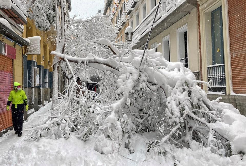 Последствия снегопада, нежданно нагрянувшего в столицу Испании.