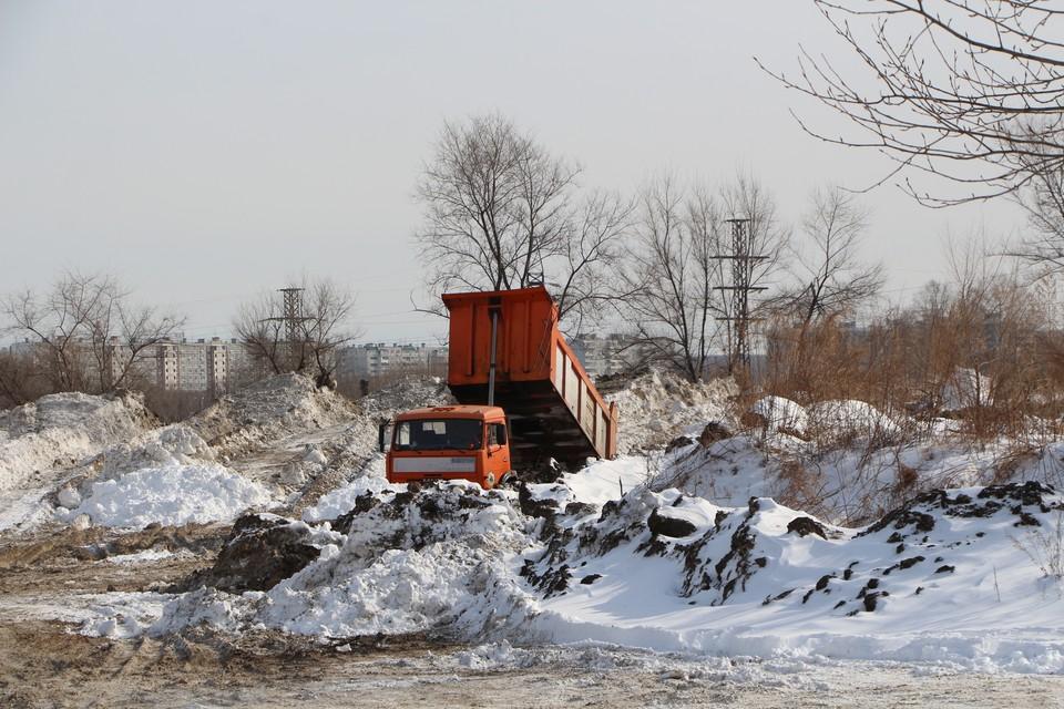 На полигон вывозят снег с южной и центральной части Хабаровска