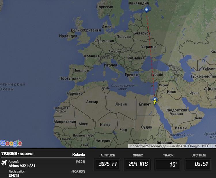 Данные о потерпевшем крушение лайнере с сайта Flightradar.