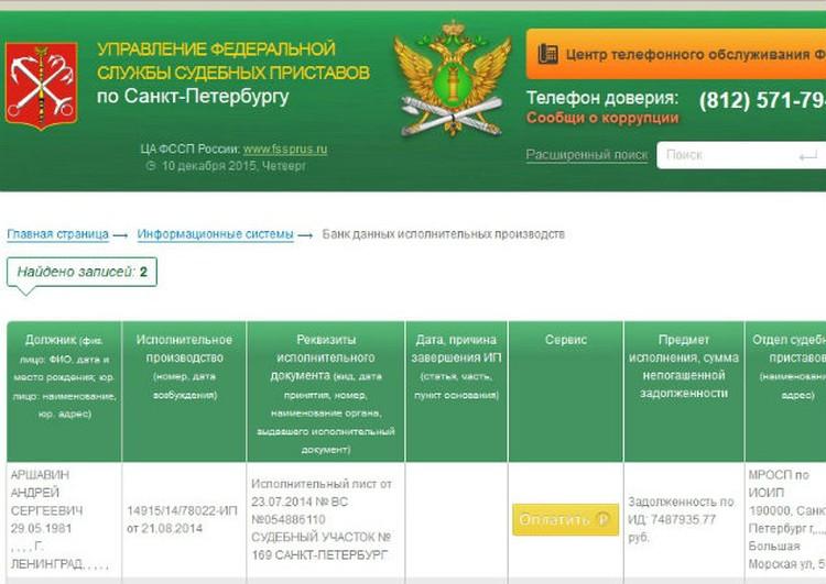 Сайт судебных приставов по Петербургу.