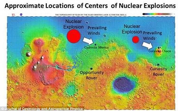 Места ядерных взрывов на Марсе.