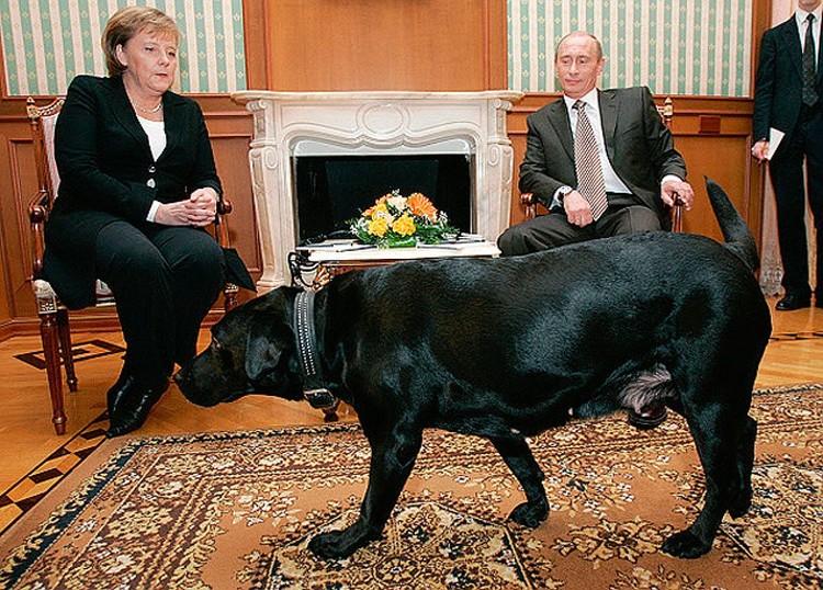 """Август 2007 года, Конни присутствует при встрече Ангелы Меркель и Владимира Путина в резиденции президента """"Бочаров ручей""""."""