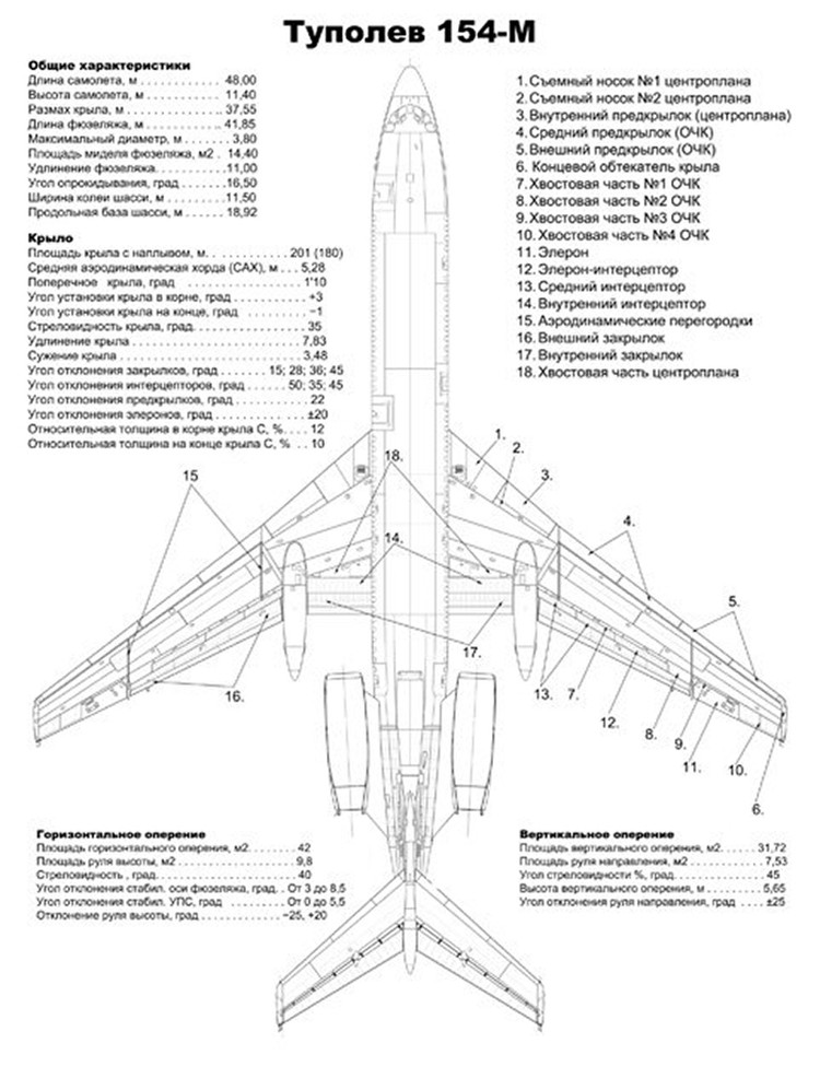 Схема самолета Ту-154