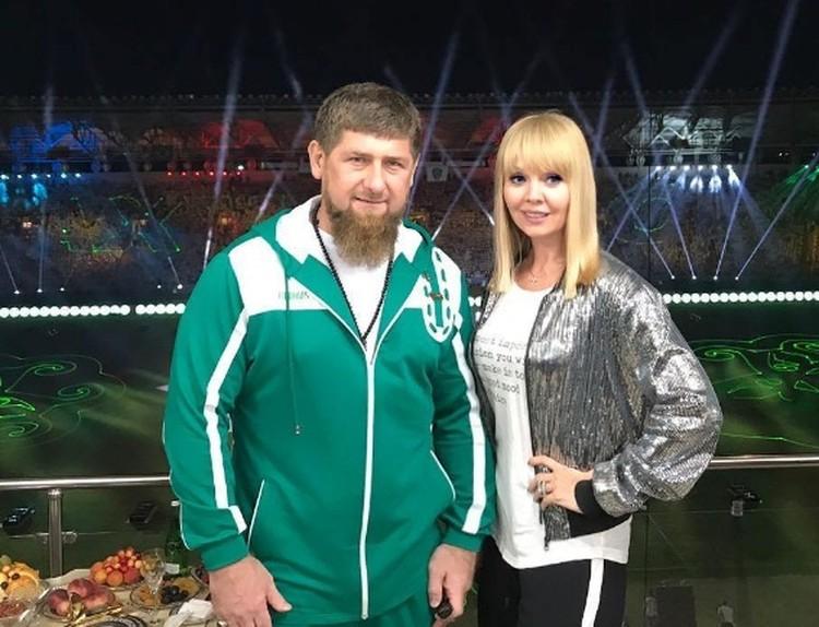 """Рамзан Кадыров и певица Валерия на первом матче клуба """"Ахмат"""""""
