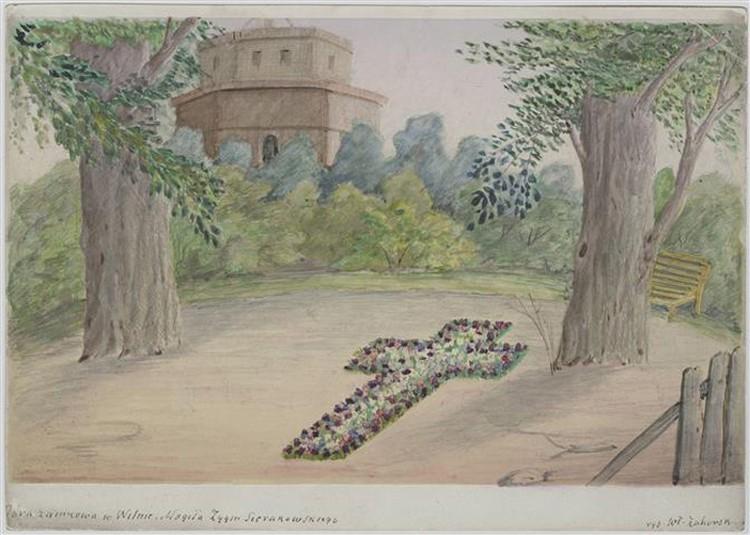 Крест из цветов на месте могилы Сераковского попал на рисунок Владислава Загорского. Фото: lnm.lt