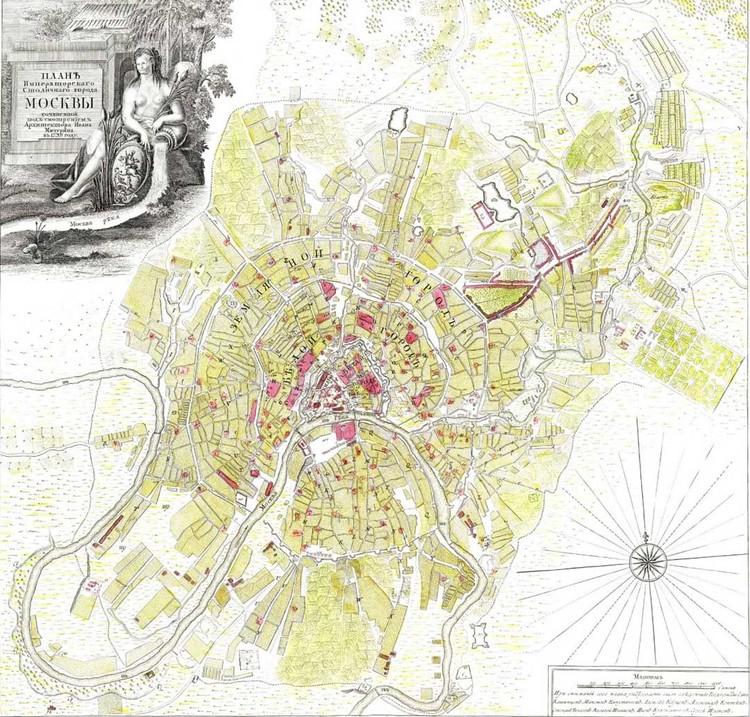 План Москвы, составленный в 1793 году архитектором Мичуриным. Земляной город находится на месте современного Садового кольца