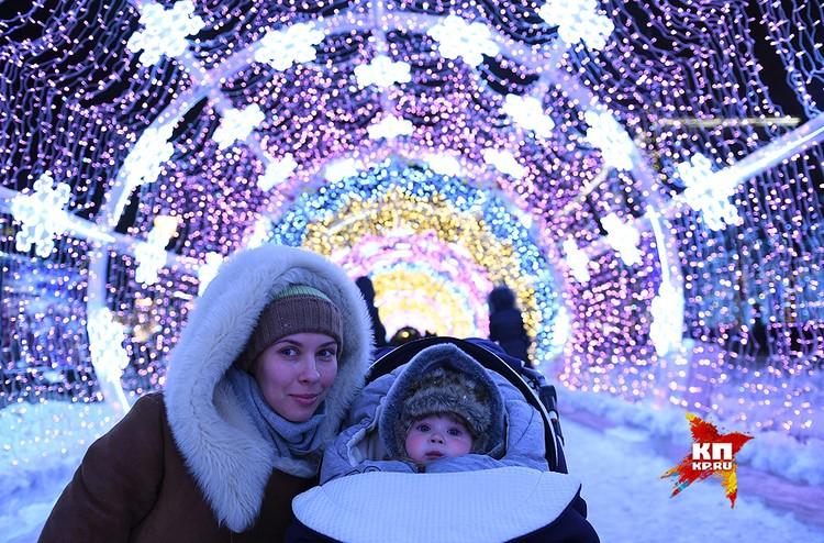 Рождественские огни на Тверском бульваре.