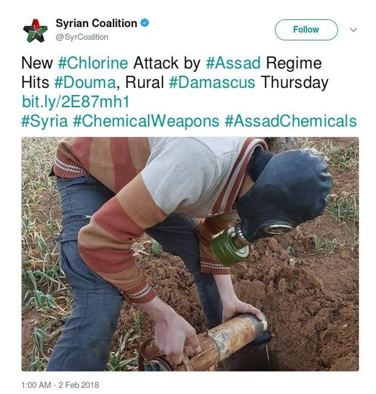 Сообщение о новых химических атаках в твиттере сирийских оппозиционеров было снабжено этой фотографией.