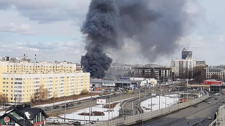 Дым видно из разных районов города. Фото: ДТП и ЧП | Санкт-Петербург