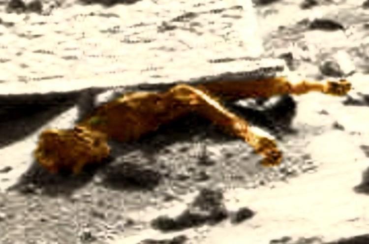 Придавленный марсианин, выделенный цветом.