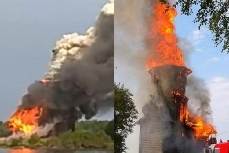 Деревянная церковь сгорела за 20 минут. Фото: Карельский колорит/vk.com, скрин с видео