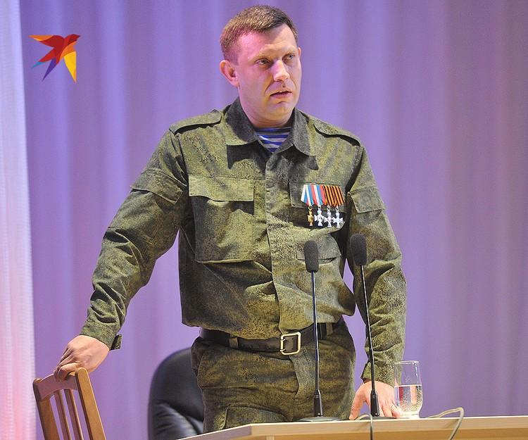Александр Захарченко во время торжественного вечера, посвященного Дню защитника Отечества, в Донецком театре Оперы и Балета, февраль 2015 года.
