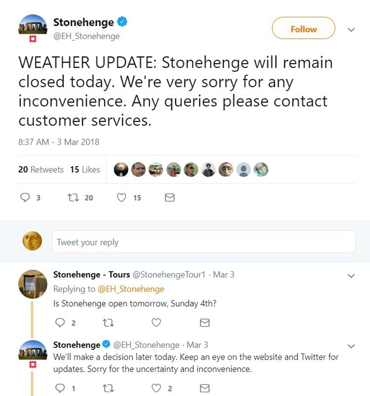 Сообщение в твиттере музея Стоунхеджа - из-за непогоды 3 марта вход был закрыт.