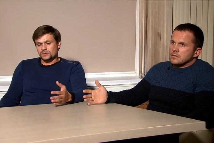 Александр Петров и Руслан Боширов дали интервью телеканалу Russia Today,