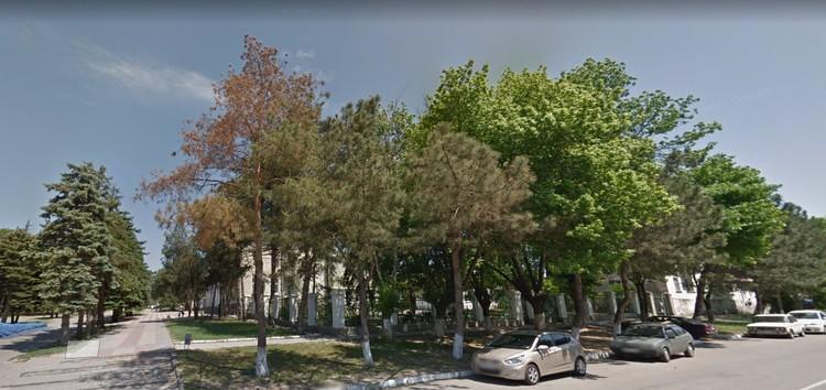 За этой густой растительностью и находится детская школа искусств в Темрюке. Фото: google.ru