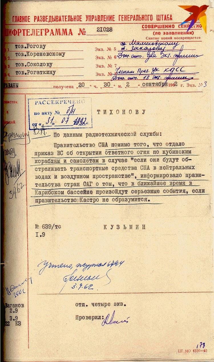 Донесение Кузьмина из Гаваны об угрозах США в Карибском бассейне 02.09.1962г.