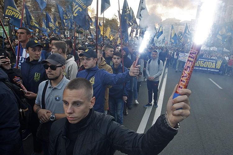 Марш националистов в центре Киева, осень 2018 года.