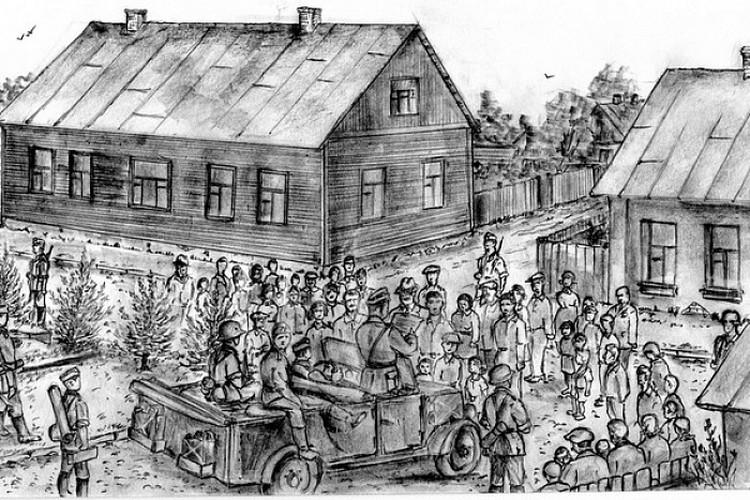 22 июня 1941 года, перекресток улиц Мицкевича и Менжинского. Оглашение первых немецких приказов. Дома, запечатленные на рисунке, сохранились. Рисунок Владимира Губенко.