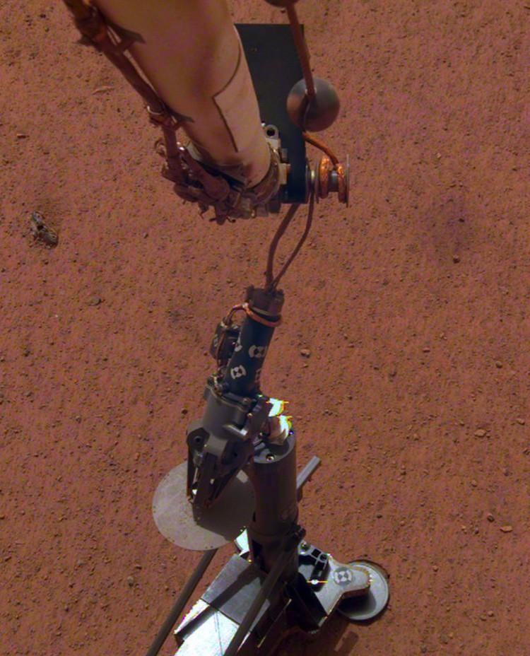 Прибор на поверхность поставила роботизированная рука: он свисает с нее.