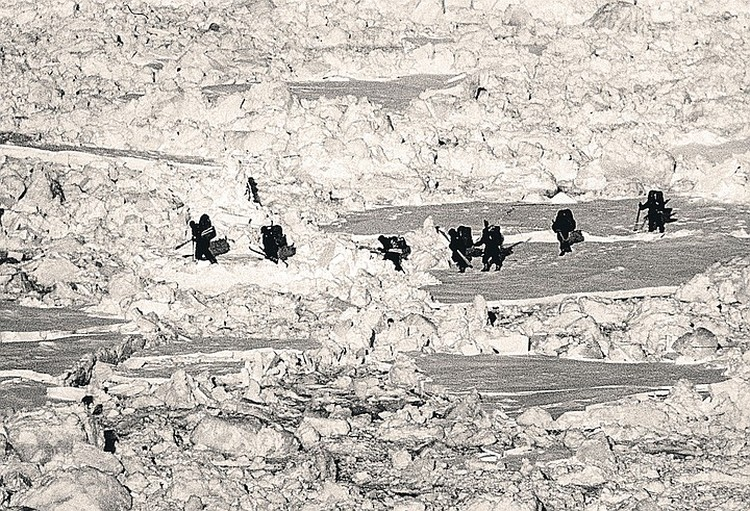 16 марта 1979 г. семерка лыжников с тяжелыми рюкзаками за плечами спустилась со скал маленького арктического островка Генриетты на дрейфующий лед и взяла курс на север. Фото: Архив клуба «Приключение» Дмитрия Шпаро