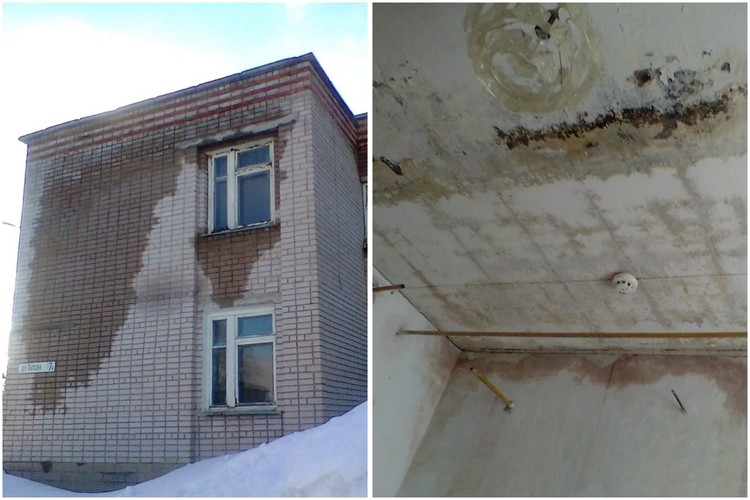 От тающего снега протекает крыша и разрушается потолок, от воды проваливается пол