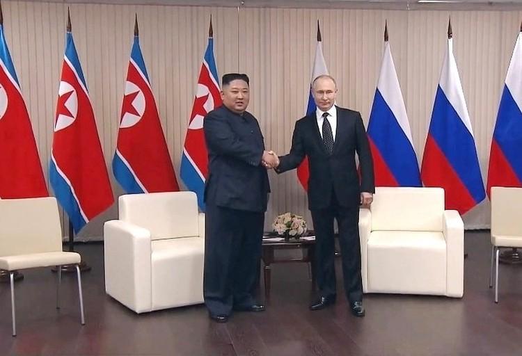 Встреча Владимира Путина и Ким Чен Ына во Владивостоке. Фото: кадр трансляции.