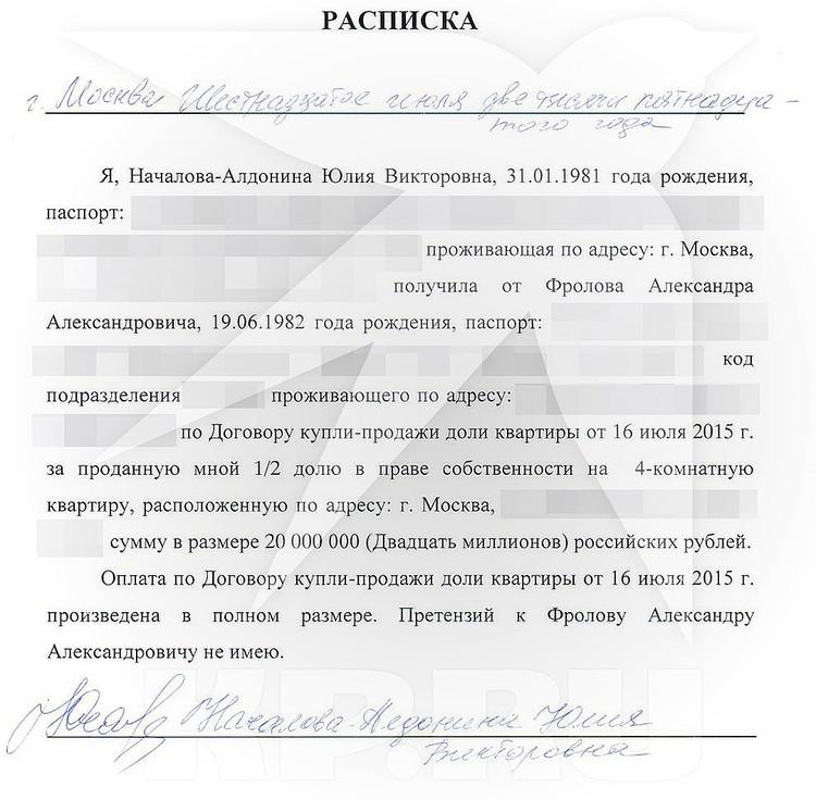 Хоккеист предоставил суду расписку о получении Юлией Началовой 20-ти миллионов.